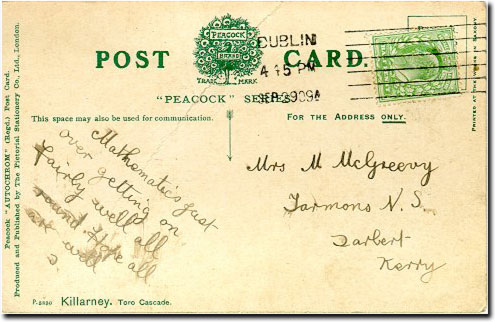 A postcard written by MacGreevy to his mother